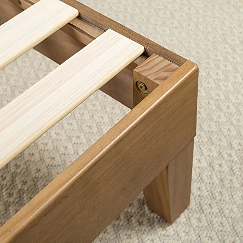 Zinus Alexia 12 Inch Wood Platform Bed / No Box Spring Needed / Wood Slat Support / Rustic Pine Finish, King