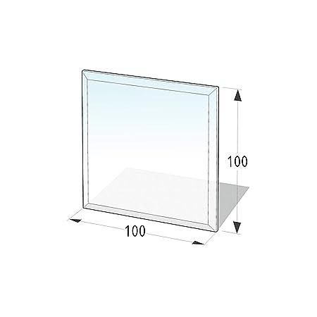 Lienbacher® - 21.02.894.2 - Funkenschutzplatte für Kaminofen - Glasplatte 8 mm (Quadrat 1) - mit Facette, klar