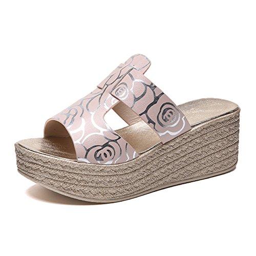 LIXIONG zapatillas Hembra verano Wedgies Moda Ropa exterior Punta abierta Fondo grueso zapato, Altura del tacón 6.5cm 3 colores -Zapatos de moda (Color : Negro, Tamaño : EU35/UK3.5/CN35/225) Pink