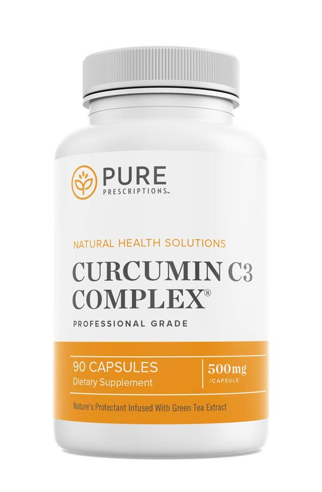Pure Prescriptions Turmeric Curcumin C3 Complex - Bioperine for Optimum Absorption; Promotes Joint & Back Pain Relief Plus Circulatory Health - 1500Mg Per Serving - 90 Veg Capsules - Made in USA