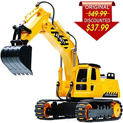 DOUBLE  E Remote Control Excavator Full Functional Construction Tractor, Rechargeable RC Truck Excavator with 2.4Ghz Transmitter (Digger With Remote Control)