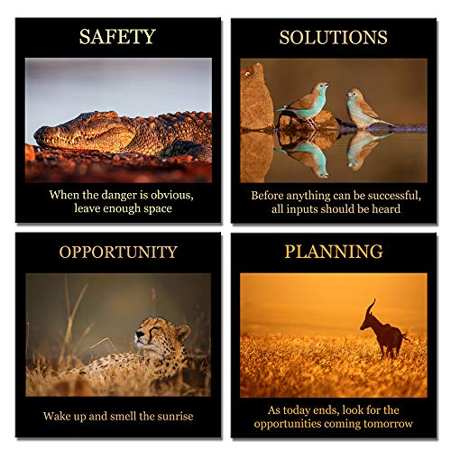 Biuteawal- 4 Piece Artwork Canvas Quotes Wall Art Motivational Motto Inspirational Success Teamwork Poster Print Stretched Wood Framed Combine Animal Pictures for Home Office Decor 12x12inchx4pcs -