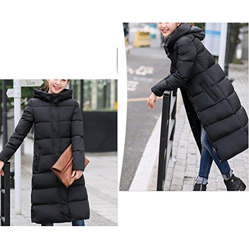 Zhhlaixing Abrigo de moda Multicolor Cotton Long Jacket Female Hooded Down Korean Style Slim Thin Coat Red