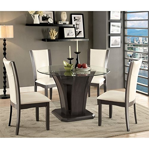 Furniture of America Henxley 5 Piece Glass Top Dining Set in Gray