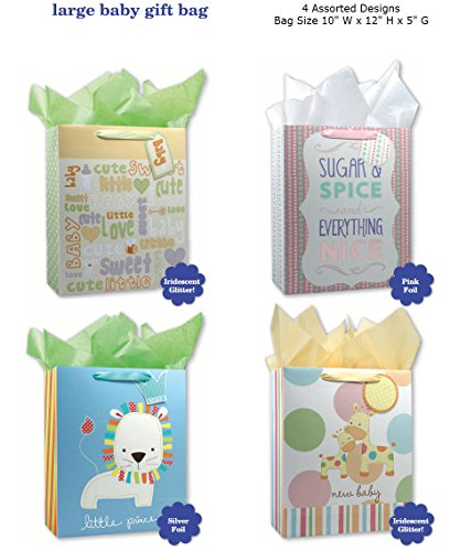 Baby Shower Party Gift Bags Set of 4 Large Birthday Gift Bag