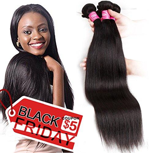Mink 8A Brazilian Virgin Hair Straight Remy Human Hair 4 Bundles Deals (22'' 24'' 26'' 28'') 100% Unprocessed Brazilian Straight Hair Extensions Natural Color Weave Bundles by Grace Length Hair
