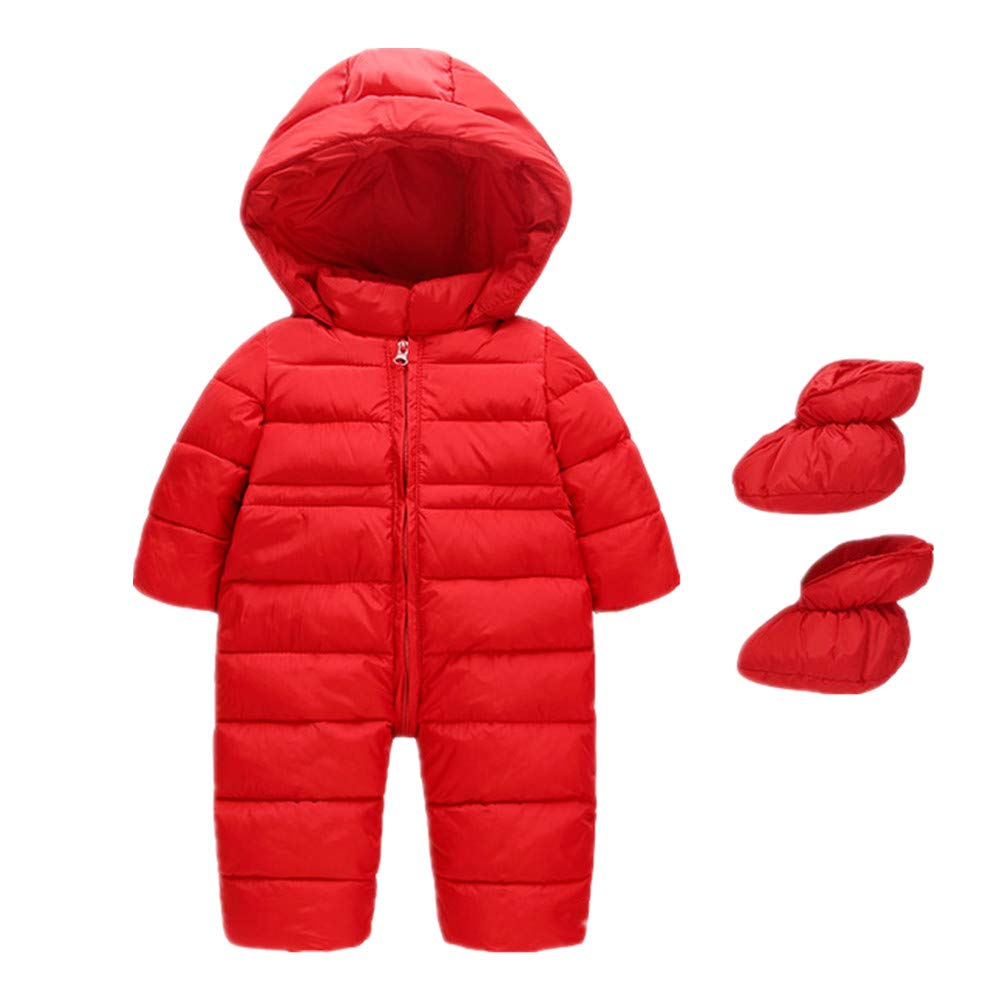 Beide Toddler Baby Boys Girls Snowsuits Winter Romper Jacket with Shoes