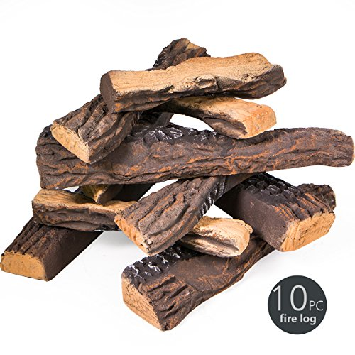 Fireplace Decoration 10 Piece of Petite Ceramic Wood, Gas Fireplace Log Set