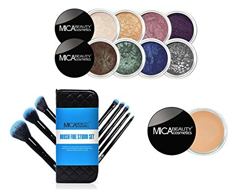 MICA Beauty Eye Makeup Kit: ''Enchanted Dreams'' 8 Shimmer Eye Shadows + Brush Fire Studio Set Blazing Blue + Eye Primer by MicaBeauty