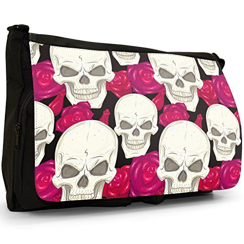 Messenger Skulls Cross Red and Skull Large Bag School Laptop Flowers Canvas Red Bag Flowers Bones Black Shoulder With Scary cqwgYqZS4