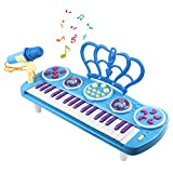 M SANMERSEN Kids Piano Keyboard, 37 Key Mini Keyboard Piano Electronic Musical Multifunctional Instruments with Microphone Toys for 3 4 5 6-8 Year Old Boys Girls Gifts Age 3-8 Blue