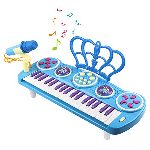M SANMERSEN Kids Piano Keyboard, 37 Key Mini Keyboard Piano Electronic Musical Multifunctional Instruments with Microphone Toys for 3 4 5 6-8 Year Old Boys Girls Gifts Age 3-8 Blue by M SANMERSEN