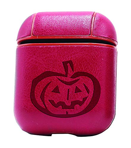 Pumpkin Stencil Drawing (Vintage Pink) Air Pods Protective Leather Case Cover - a New Class of Luxury to Your AirPods - Premium PU Leather and Handmade exquisitely by Master Craftsmen