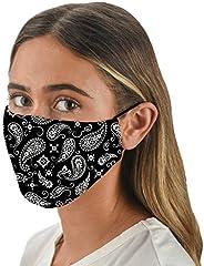 Snoozies 3-Layer Reusable, Washable Face Mask - Black Bandana