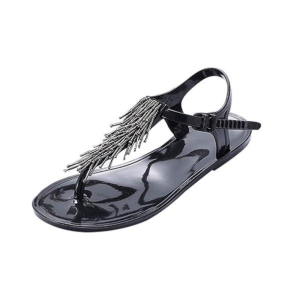 Soiree Tassel Femme Mode Plate Boucle Moika Chaussure D'été Perles AL54Rj3
