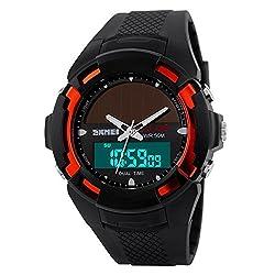 Carlien Men Clock Resin Atomic Solar Sports Watch 2 Time Zone Digital Led Quartz Men Casual Watches