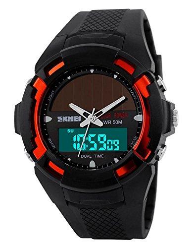 Carlien Men Clock Resin Atomic Solar Sports Watch 2 Time Zone Digital Led Quartz Men Casual Watches (Atomic Time Analog Digital Watch)