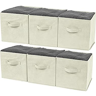 Greenco Foldable Storage Cubes Non-woven Fabric -6 Pack-(Beige)