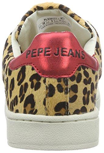 Braun Club de Deportiva Zapatilla Animal Jeans Print Pepe Brown Cuero Mujer 877nut Marrón FOxq1vUw