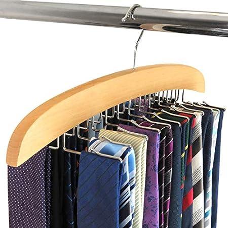 Hangerworld Percha Corbatero 24 Corbatas de Madera con Ganchos de Metal Organizador