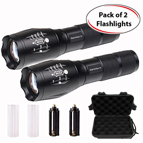 Pack of 2 GenMax Super Bright High Lumens T6 Tactical LED Flashlight, 5 Light Modes Max Med Low Strobe SOS, Adjustable & Zoomable, Outdoor Water-Resistant Torch, For Camping Boating Fishing Hunting
