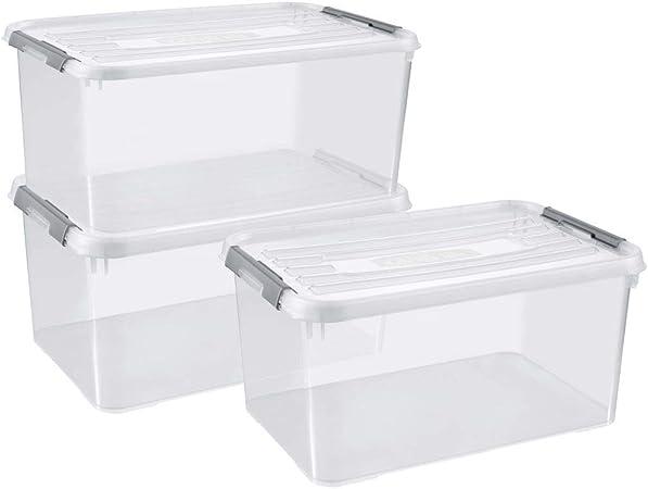 Curver - Juego de 3 cajas de almacenamiento para teléfono móvil (50 L, plástico), transparente: Amazon.es: Hogar