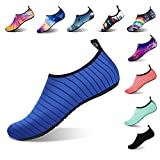 APTRO Water Shoes for Men and Women Water Socks Swim Shoes for Beach Walking Stripes D-Blue US (W:7.5-8)-(M:7-7.5)