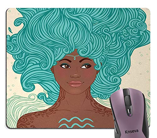 Knseva Beautiful African Woman with Turquoise Hair Hairstyle Mouse Pad, African Ethnic Lady Beauty Girl Fantasy Tribal Portrait Mouse Pads for Computers