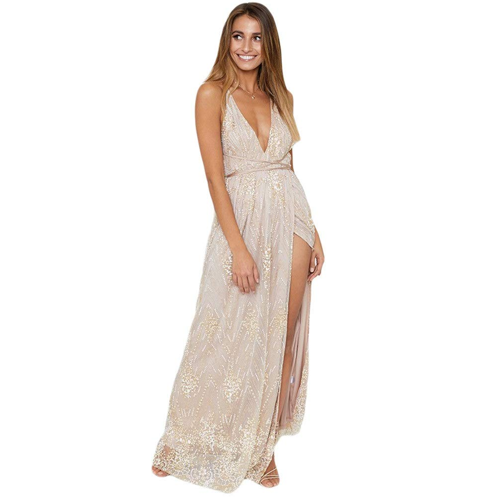 Beige Women's Evening Cocktail Gowns Women Spaghetti Straps Sleeveless Evening Maxi Dress Plunging V Neck Backless Shiny Sequin Long Dress Front Slit Prom Gowns Cocktail Party Dress Bridesmaid Dress elegant