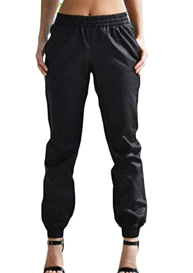 9c39cdfbe17 BU2H Women Casual Faux Leather Solid Elastic Waist Harem Pants at Amazon  Women s Clothing store