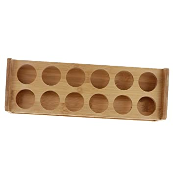 Bamboo Shot Glass Holder Organizer Stand Home Cup Storage Holder Stand