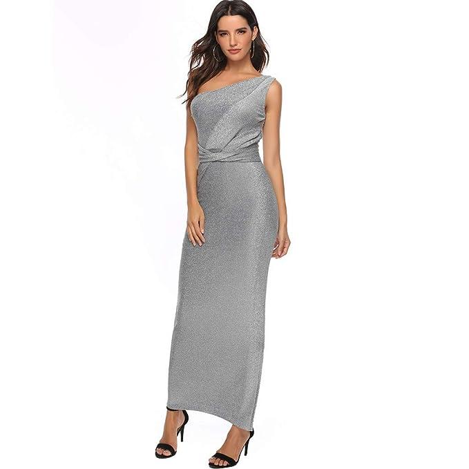 DressLksnf Vestido de Mujer Elegante Seda Brillante Falda Larga ...