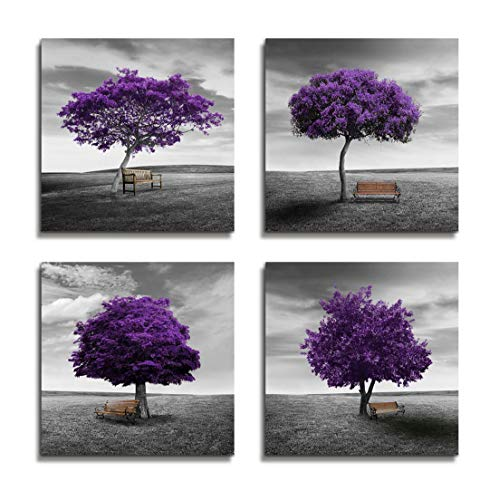 (Wall Art Bedroom Wall Decor Canvas Print Purple Trees Modern Landscape Framed Artwork - 4 Panels Wall Painting Black And White Style Tree Wall Art For Living room Home Office Bathroom Decorations)