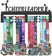 GENOVESE Cheerleader Medal Holder Display Hanger Rack Frame,Black Sturdy Steel Metal,Wall Mounted Over 50 Meda