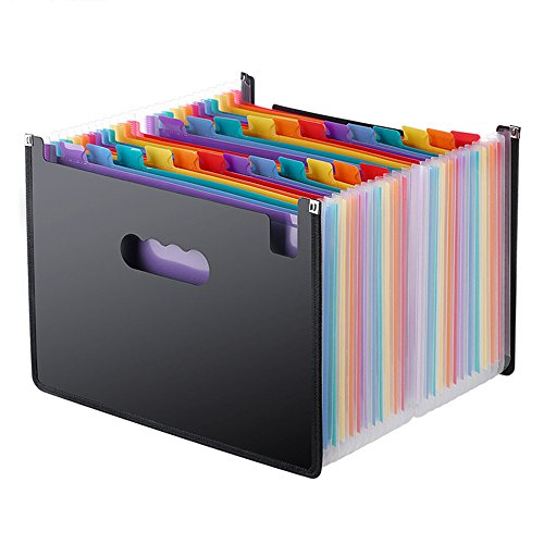 Expanding Files Folders/24 Pockets A4 Expandable File Organizer/Plastic Business Portable Accordion File Box with High Capacity Multicolour Stand