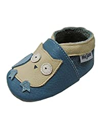 Mejale Baby Shoes Toddler Infant Soft Sole Leather Moccasins First Crib Slippers