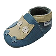 Mejale Baby Shoes 100% Leather Toddler Infant Slippers Cartoon Moccasins(Sky Blue, 6-12 Months)