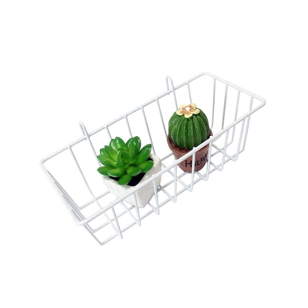 elec tech Iron Frame Hanging Rack Wall Display Storage Box Multifunction Mesh Wire Metal Wall Grid Panel Mounted Storage Basket Organizer/Balcony Plant Holder 9.25 3.15