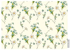 Izabela Peters Impermeable De Diseño Jardín Exterior Mantel - Flores Silvestres - Lakeland Colección - Diseñado Estampado & Hecho a Mano en el Reino Unido (Seleccione Longitud) - Crema