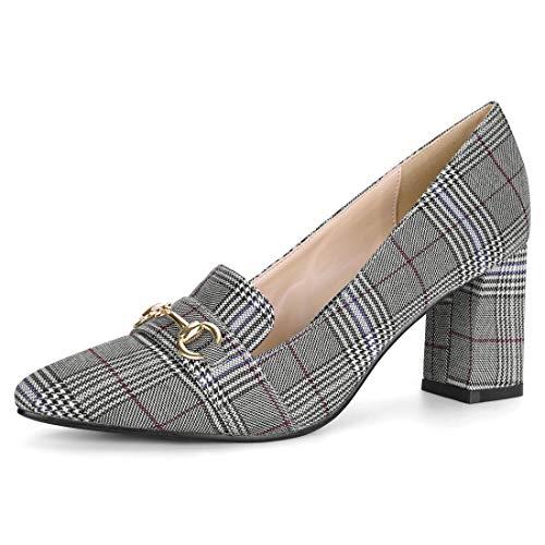 (Allegra K Women's Pointed Toe Buckle Block Heel Plaid Black White Pumps - 8 M US)