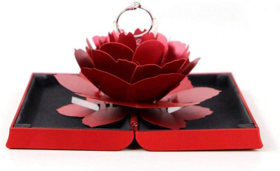 Caja de regalo para anillo de leegoal, caja de regalo rectangular con diseño de rosas, suministros de boda para los amantes (anillo no incluido)