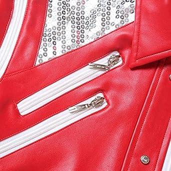 Shuanghao Unisex Thriller Beat it Rojo Chaquetas of Michael Jackson Abrigo Disfraz de Cosplay