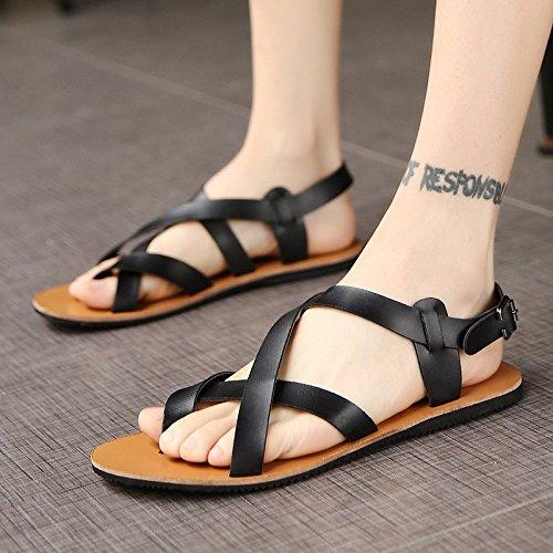 Sandalen Männer Jugend Echtleder Sommer Trend Strand Sandalen WeißPersönlichkeit Männer Rom Schuh ,schwarz,US=9,UK=8.5,EU=42 2/3,CN=44
