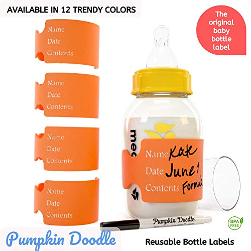 Includes 4 Labels and 1 Dry Erase Marker Available in 11 Colors The Original Write and Reuse Baby Bottle Labels for Daycare