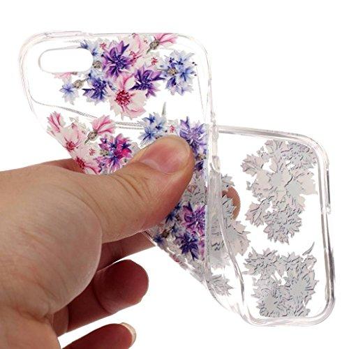 LH Blau Rosa Blume TPU Hülle Weich Tasche Schutzhülle Silikon Handyhülle transparent Schale Case für Apple iPhone 5 5S SE