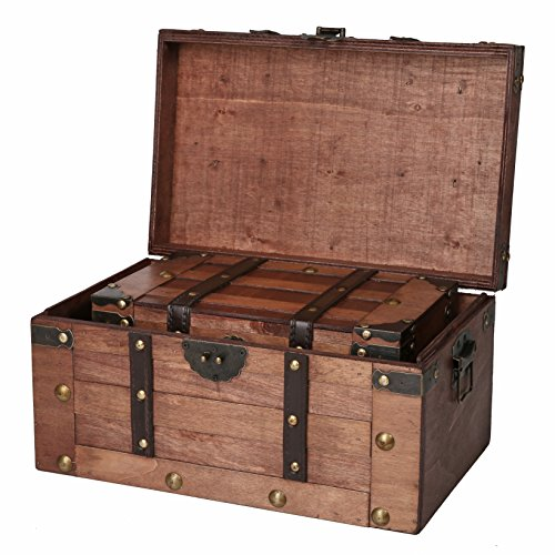 SLPR Alexander Wooden Trunk Chest with Straps (Set of 2, Rich Cognac) | Decorative Treasure Stash Box Old-Fashioned Antique Vintage Style for Birthday Parties Wedding Decoration
