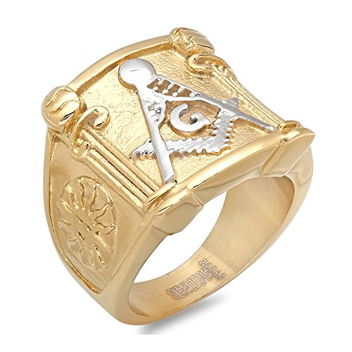 Amazing-Gold-Color-Stainless-Steel-Masonic-Freemason-Square-Compass-Mens-Ring