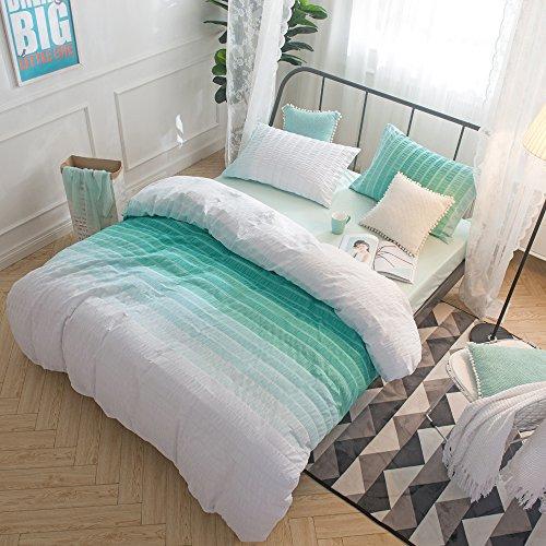 Merryfeel 100% Cotton Woven Seersucker Stripe Duvet Cover Set - Full/Queen ()