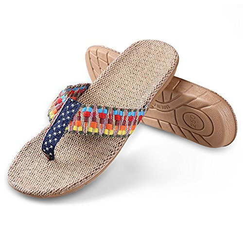 Flat Aerusi Sandals Flip Color Womens Flops Summer Braided Girls Light Flax Shoe Antiskid Wedge aSxIwSrR