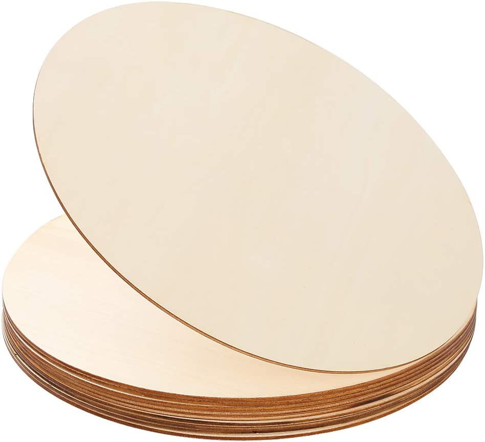 12 Pieces 12 Inch Wooden Circles Round Door Hanger Unfinished Slices for DIY Pyrography Painting and Wedding Decorations